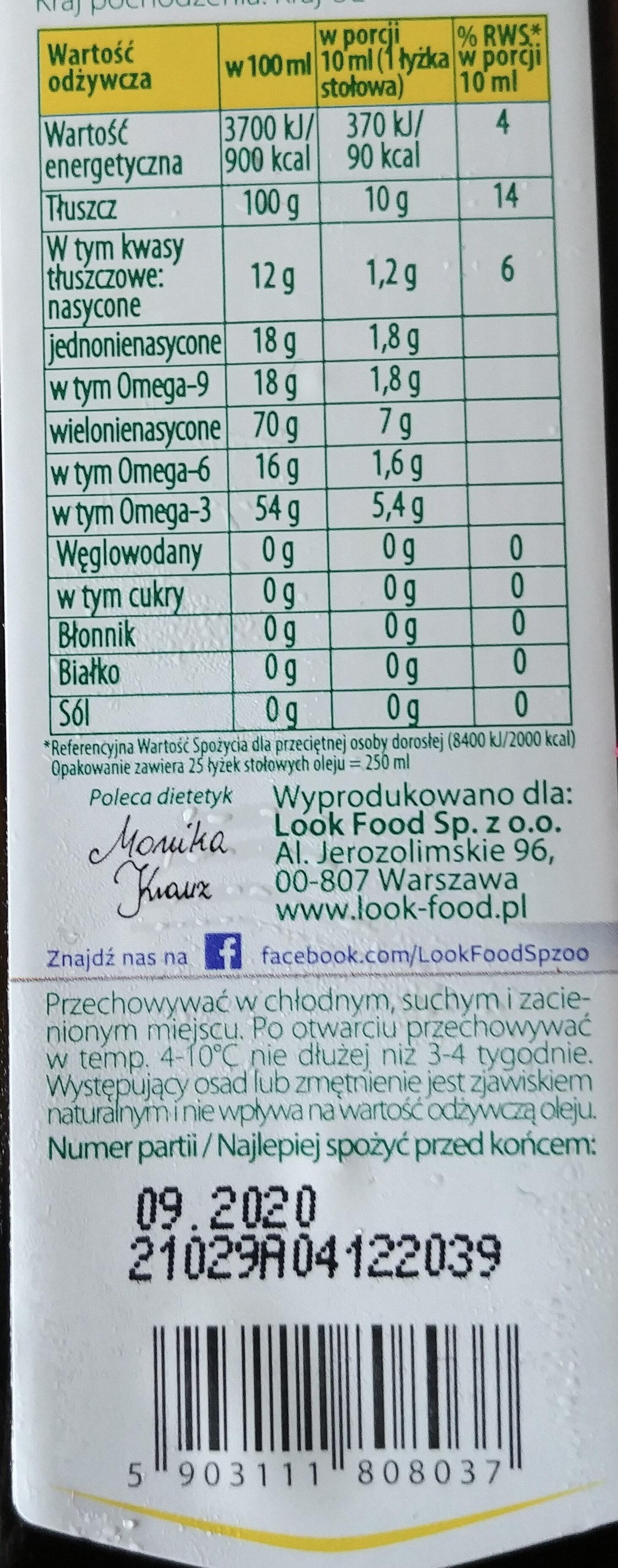 Olej lniany ekologiczny - Wartości odżywcze