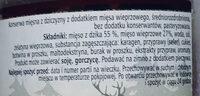 Konserwa mięsna z dziczyzny z dodatkiem mięsa wieprzowego - Ingredients - pl