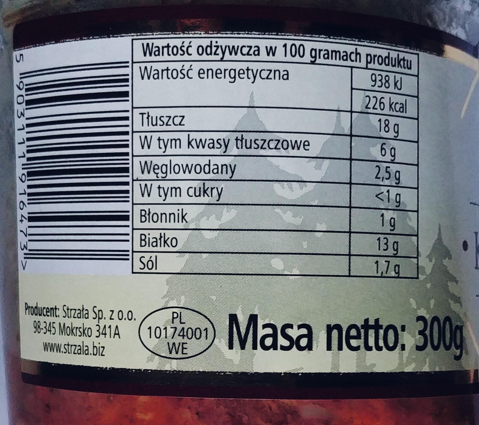 Konserwa mięsna z dziczyzny z dodatkiem mięsa wieprzowego - Nutrition facts - pl