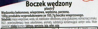 Boczek wędzony, plastry - Składniki - pl