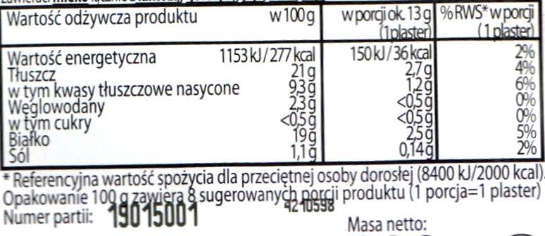 Boczek wędzony, plastry - Wartości odżywcze - pl