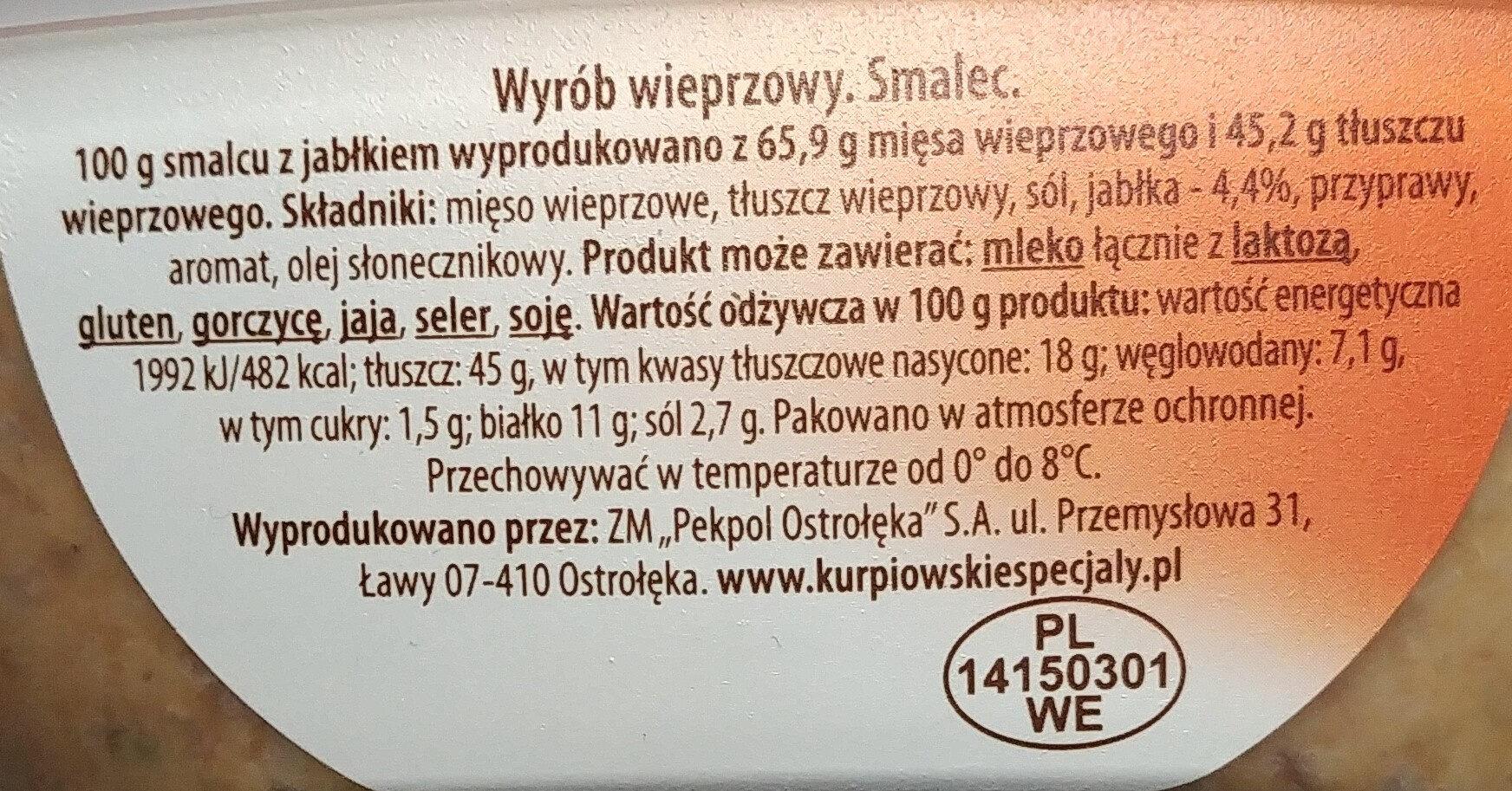 Smalec z jabłkiem. - Ingredients - pl