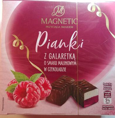 Pianka o smaku śmietankowym z galaretką o smaku malinowym w czekoladzie - Produkt