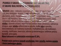 Pianka o smaku śmietankowym z galaretką o smaku malinowym w czekoladzie - Składniki