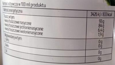 Olej kokosowy rafinowany - Wartości odżywcze