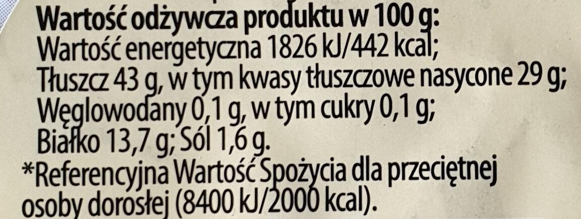 Ser Bawarski pleśniwy, kremowy łagodny - Wartości odżywcze - pl