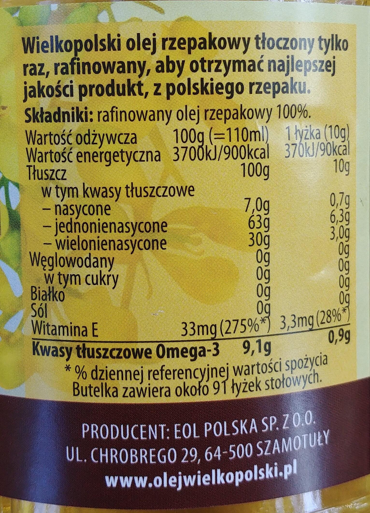 Wielkopolski olej rzepakowy tłoczony tylko raz, rafinowany. - Wartości odżywcze - pl