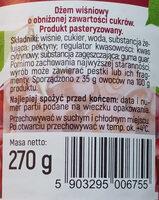 Dżem wiśniowy o obniżonej zawartości cukrów - Składniki - pl