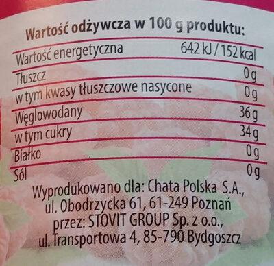 Dżem malinowy niskosłodzony - Wartości odżywcze - pl
