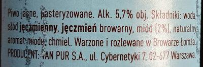 Miodowe - Składniki - pl