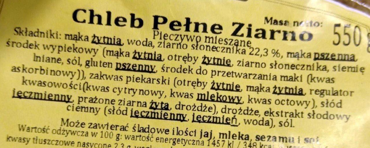 Chleb pełne ziarno - pieczywo mieszane - Składniki - pl