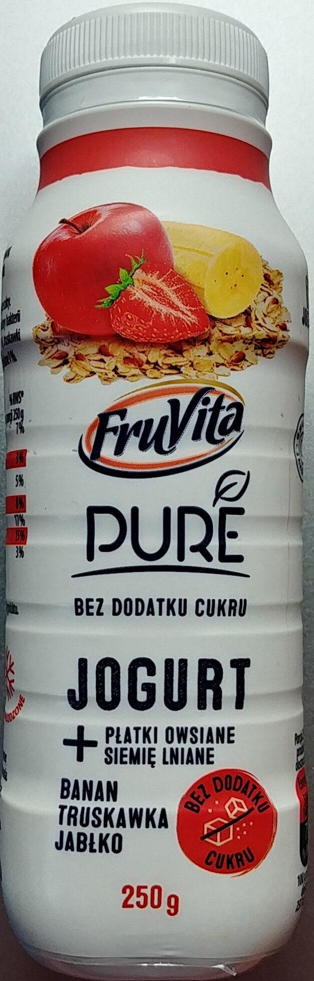 Jogurt pitny z przetartymi owocami i zmielonymi płatkami owsianymi i siemieniem lnianym. - Produkt - pl