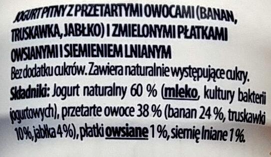 Jogurt pitny z przetartymi owocami i zmielonymi płatkami owsianymi i siemieniem lnianym. - Składniki - pl