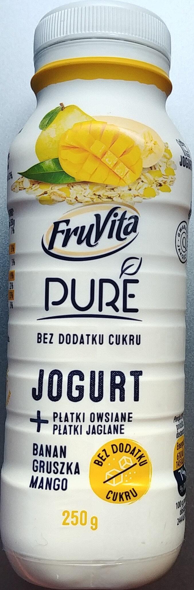 Jogurt pitny z przetartymi owocami i zmielonymi płatkami owsianymi i jaglanymi. - Produkt - pl
