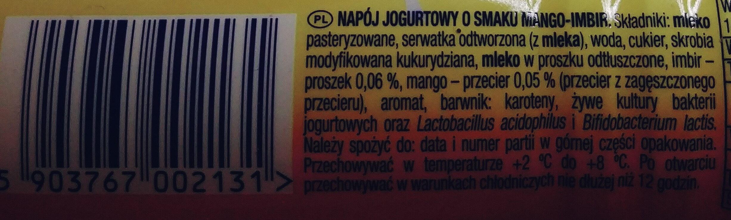 Napój jogurtowy o smaku mango-imbir - Składniki