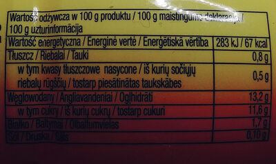 Napój jogurtowy o smaku mango-imbir - Wartości odżywcze