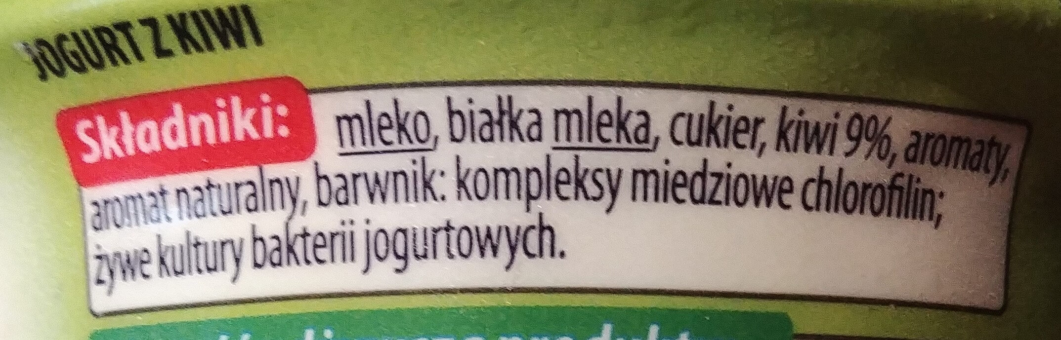 Jogurt z kiwi - Składniki