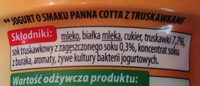 Jogurt o smaku Panna Cotta z truskawkami - Składniki