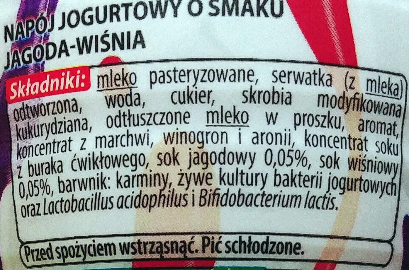 Napój jogurtowy o smaku jagoda - wiśnia. - Składniki