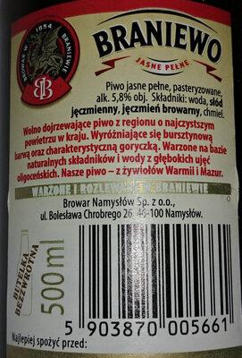 Piwo jasne pełne - Wartości odżywcze