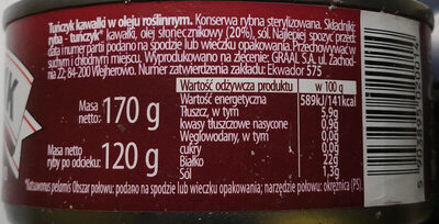 Tuńczyk kawałki w oleju roślinnym. - Ingrédients - pl