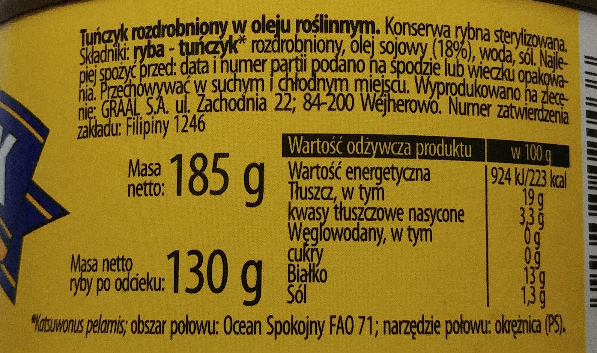 Tuńczyk rozdrobniony w oleju roślinnym. - Składniki