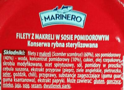 Filety z makreli w sosie pomidorowym - Składniki