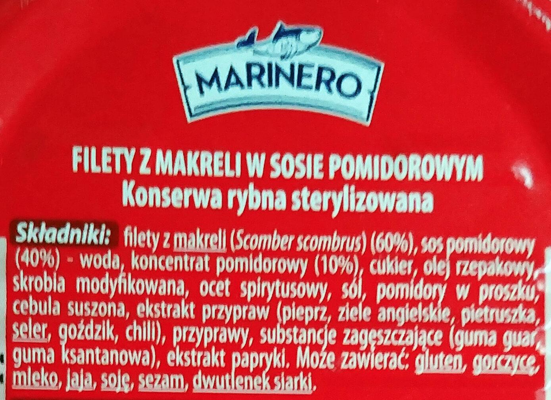 Filety z makreli w sosie pomidorowym - Składniki - pl