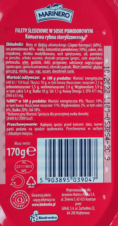 Filety śledziowe w sosie pomidorowym - Składniki