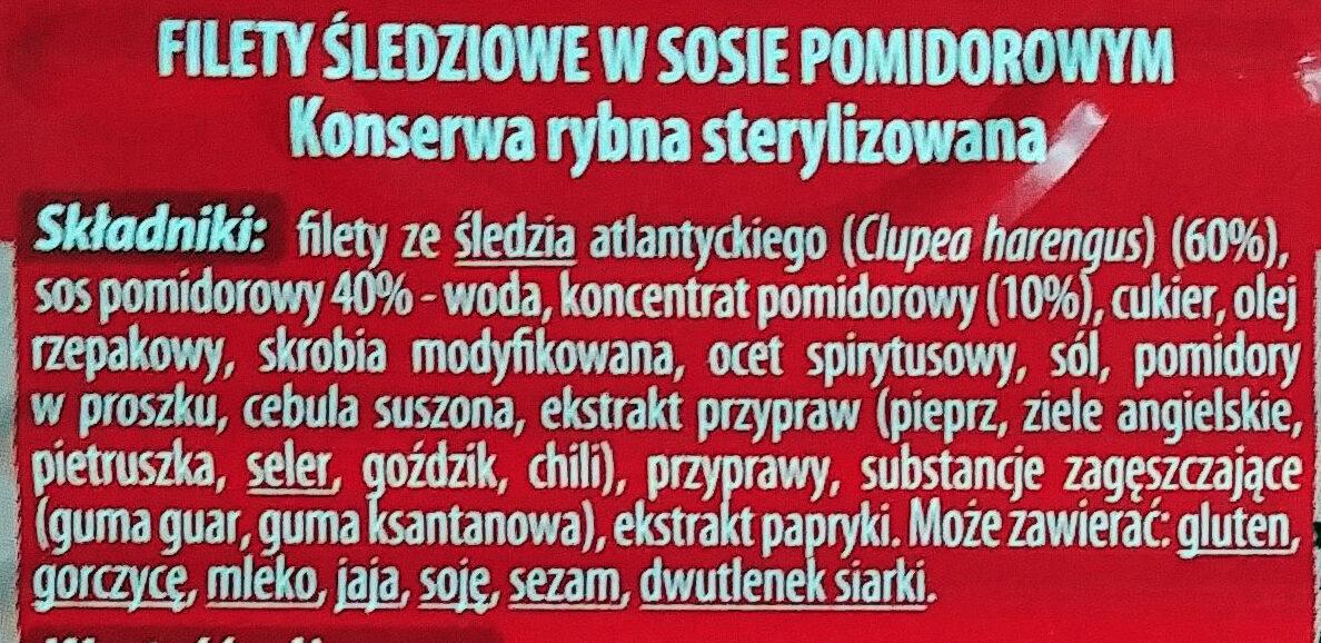 Filety śledziowe w sosie pomidorowym - Składniki - pl