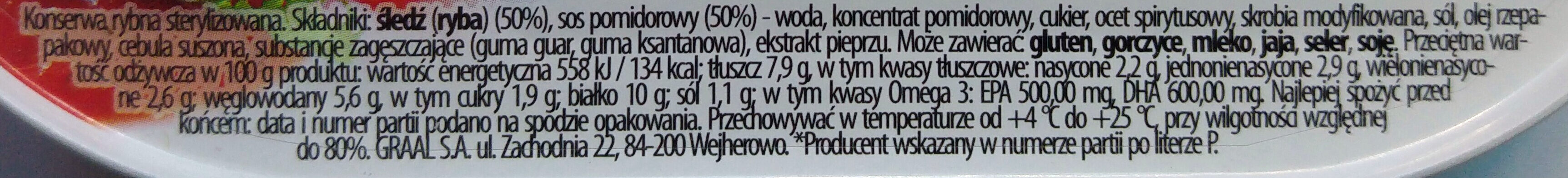 Śledź w sosie pomidorowym. - Ingredients
