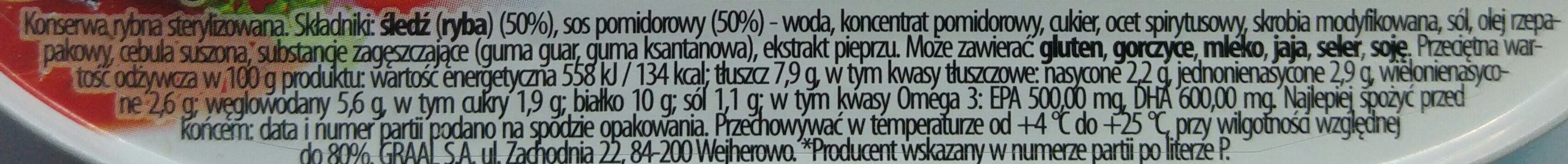 Śledź w sosie pomidorowym. - Voedingswaarden - pl