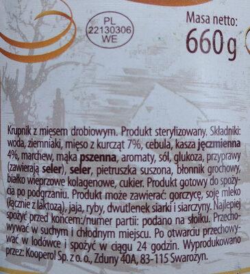 Krupnik z mięsem drobiowym - Ingrédients - pl