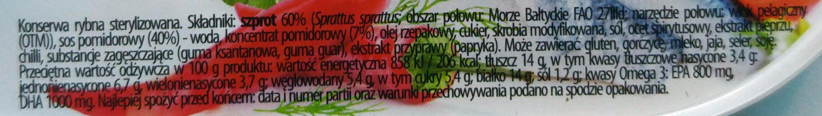 Szprot w pikantnym sosie pomidorowym. - Składniki - pl