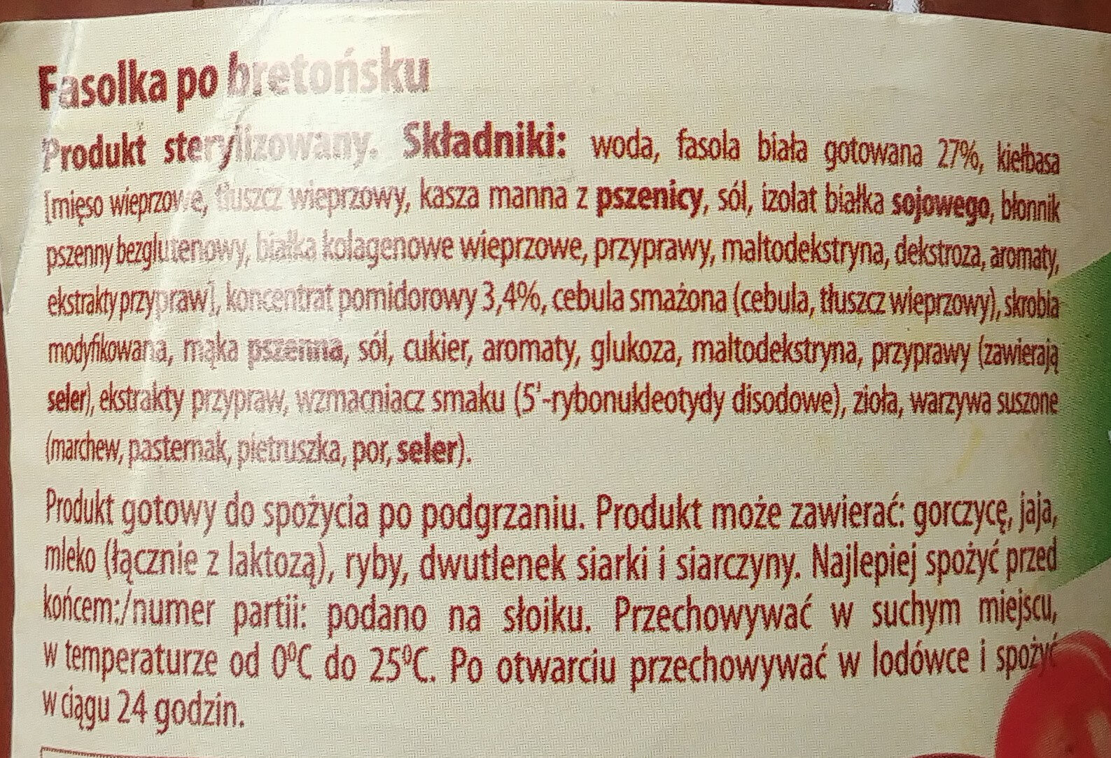 Fasolka po bretońsku - Ingredients - pl