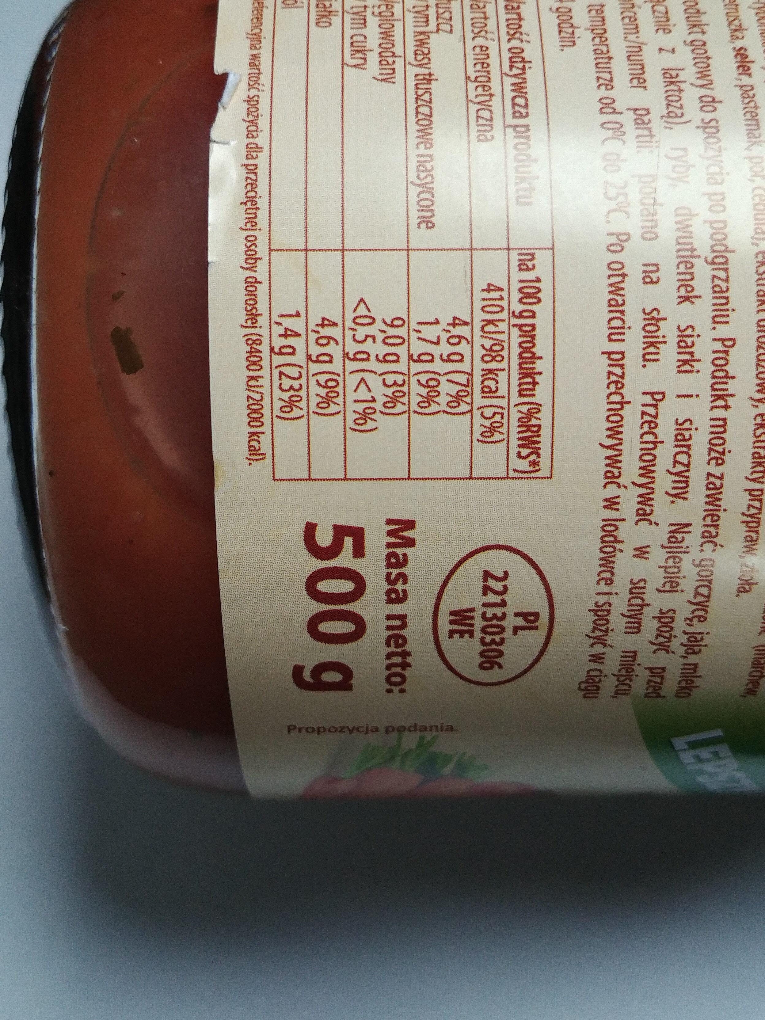 Pulpety drobiowe w sosie pomidorowym - Informations nutritionnelles