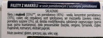 Filety z makreli w sosie pomidorowym z suszonymi pomidorami. - Ingredients