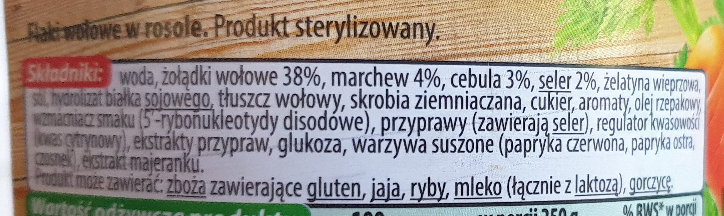 Flaki wołowe - Ingrédients - pl