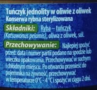Tuńczyk jednolity w oliwie z oliwek - Ingredients - pl