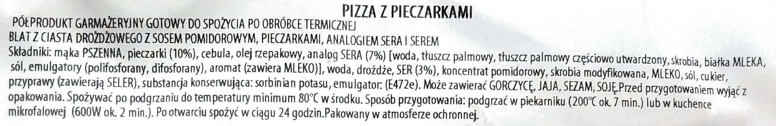 Pizza z pieczarkami - Składniki - pl