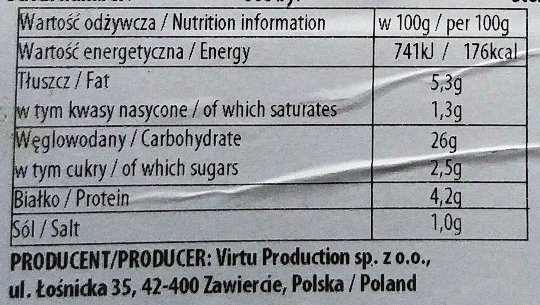 Pierogi z kapustą i grzybami - Wartości odżywcze