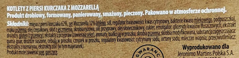 Kotlet z piersi kurczaka z Mozzarellą. - Składniki - pl