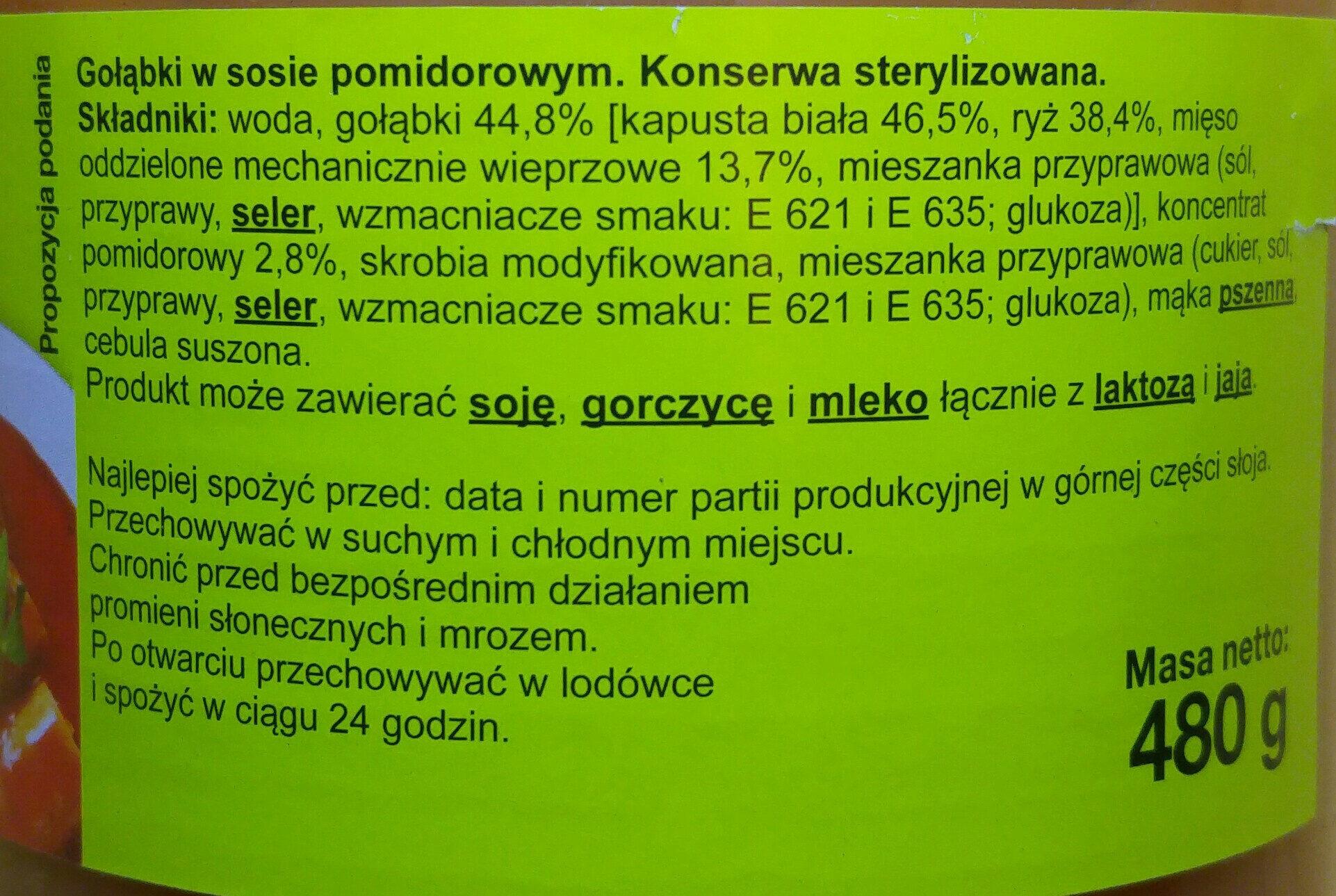 Gołąbki w sosie pomidorowym. - Ingredients - pl