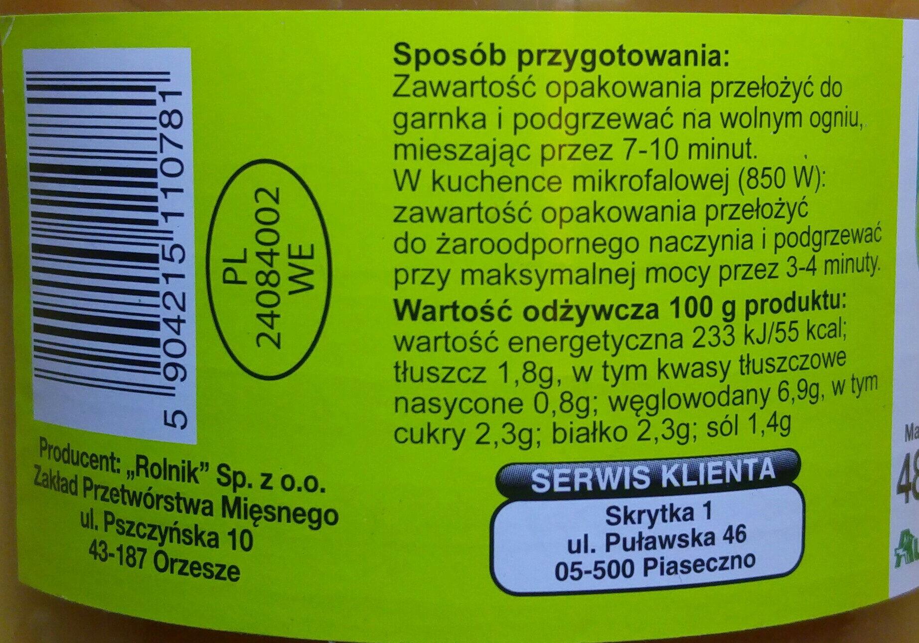 Gołąbki w sosie pomidorowym. - Nutrition facts - pl