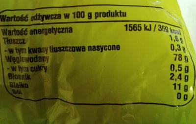 Makaron świderki - Wartości odżywcze