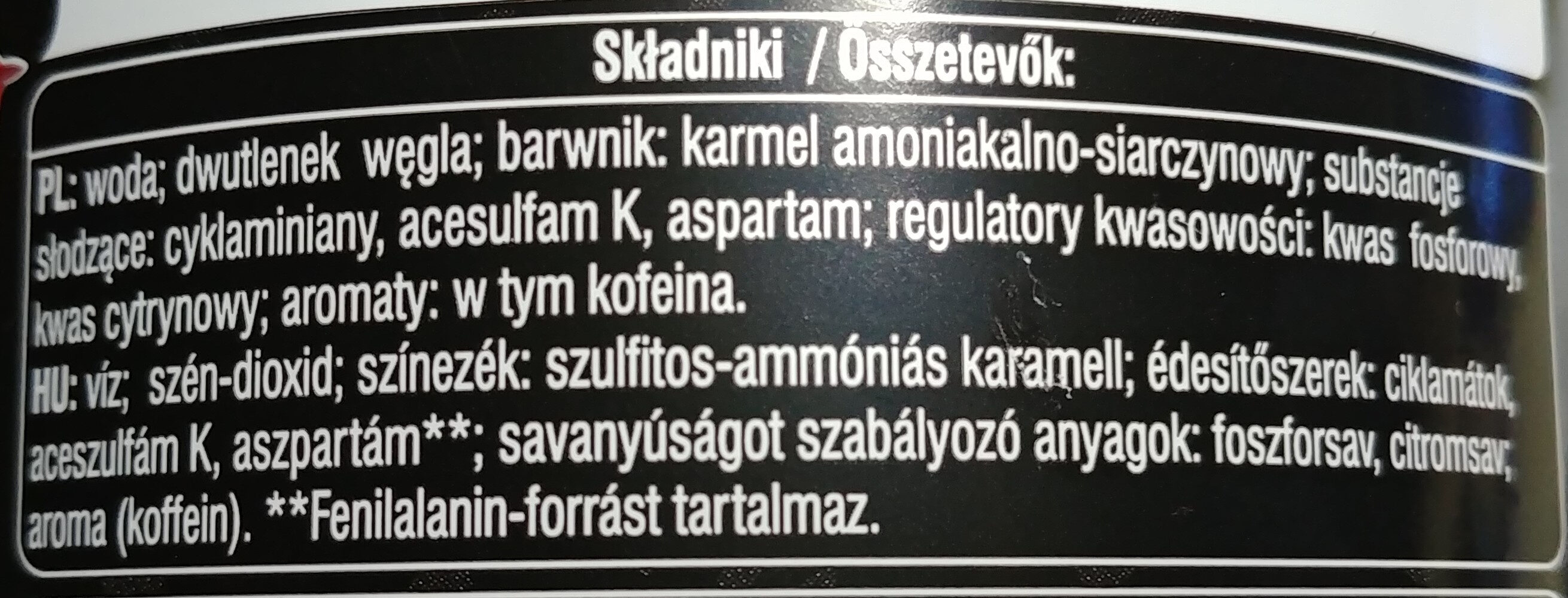 Cola zero - Składniki - pl