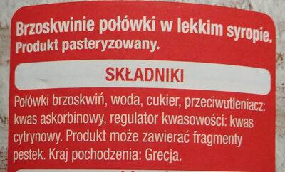 Brzoskwinie w syropie. - Składniki