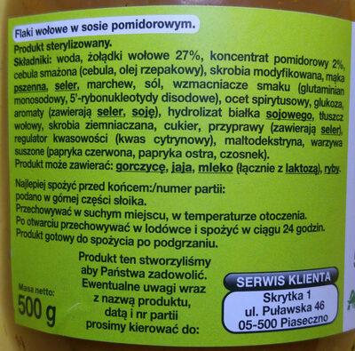 Flaki po zamojski - flaki wołowe w sosie pomidorowym. - Ingredients