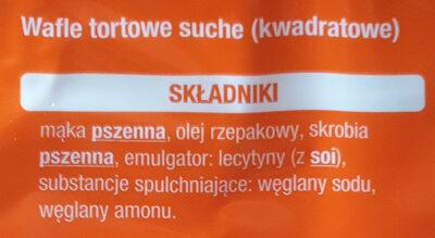 Wafle tortowe suche - Składniki - pl