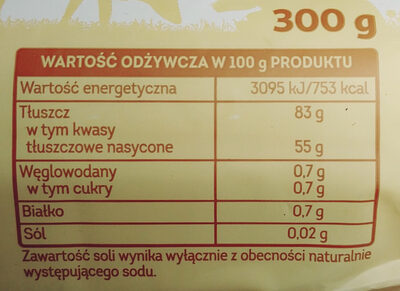 Masło ekstra z Kujaw i ziemi dobrzyńskiej - Wartości odżywcze - pl
